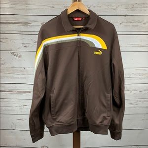 Puma Retro Brown Full Zip Collared Jacket